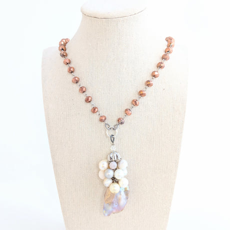 Rose Gold Pearl Bauble Long Rosary Beaded Necklace (Bauble 254)