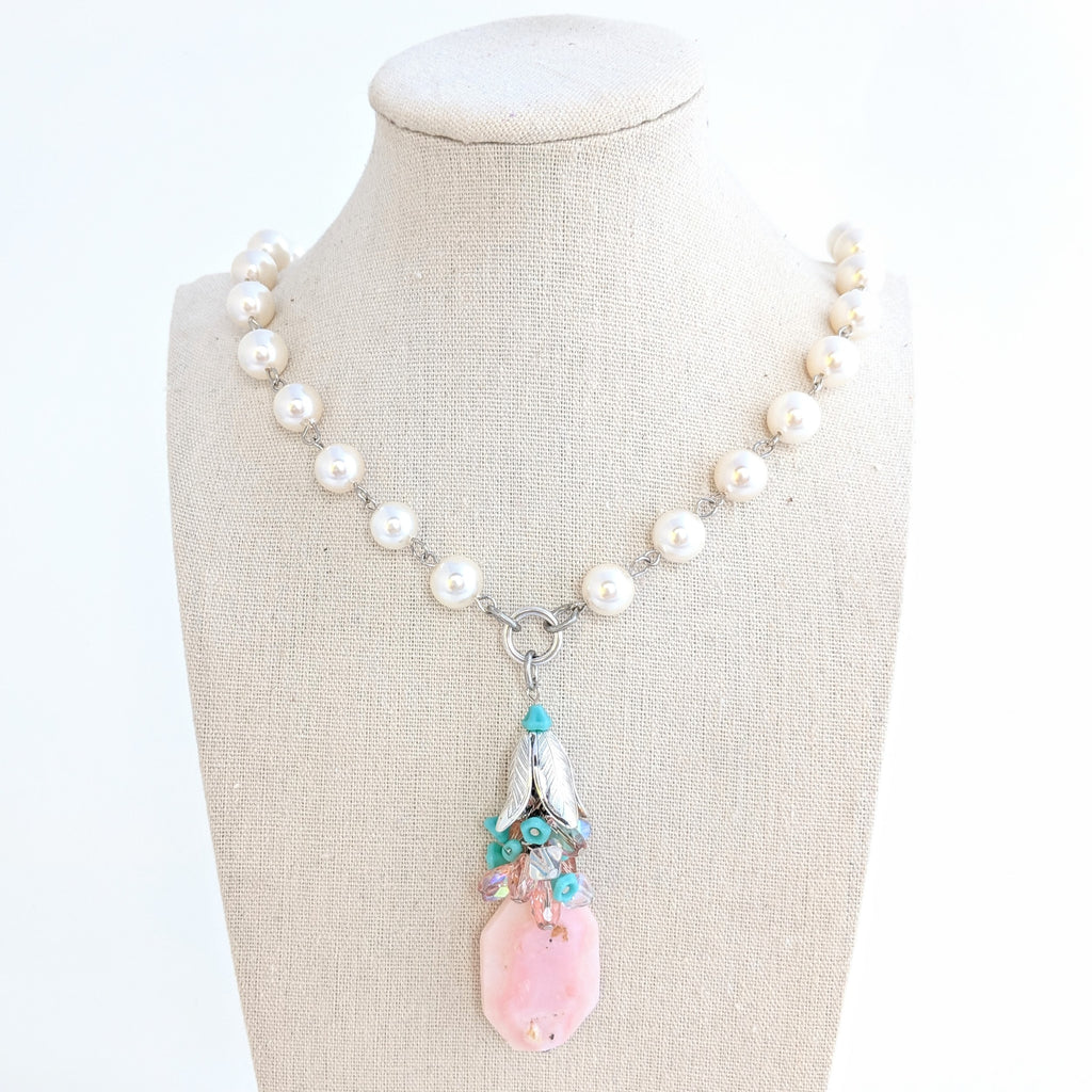 Pearl and Pink Opal Long Rosary Beaded Necklace (Bauble 259)