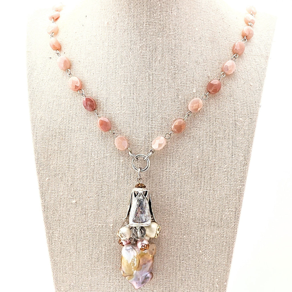 faceted peach moonstone necklace