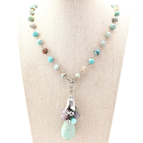 ocean agate beaded necklace