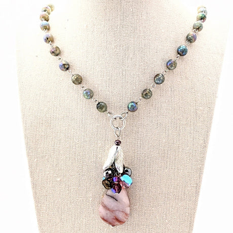 long labradorite beaded necklace