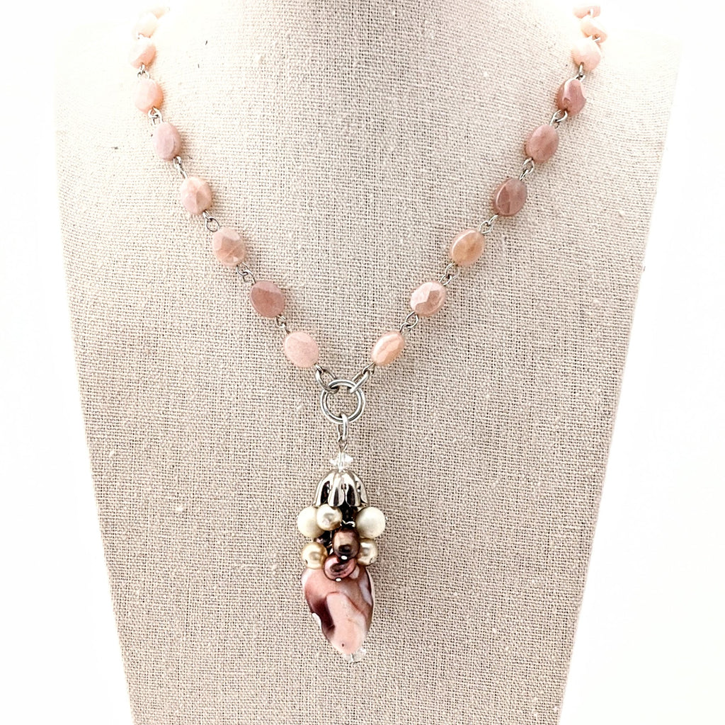 Peach Moonstone and Botswana Agate Long Rosary Beaded Necklace (Bauble 280)