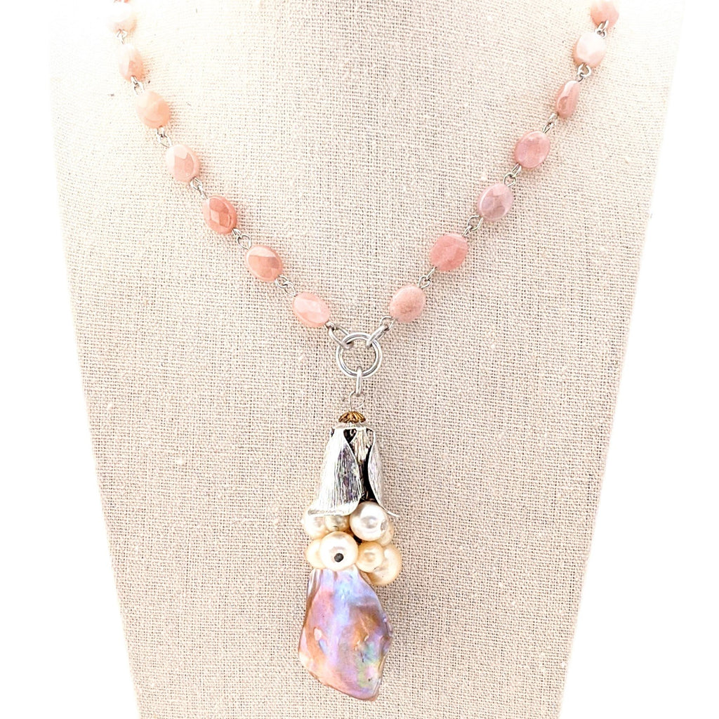 faceted peach moonstone beaded necklace