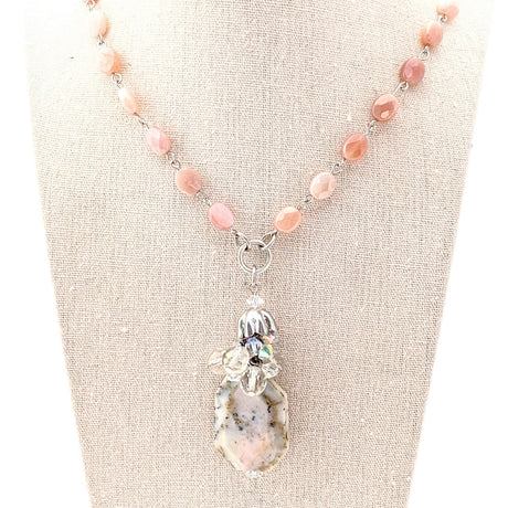 pink opal pendant necklace