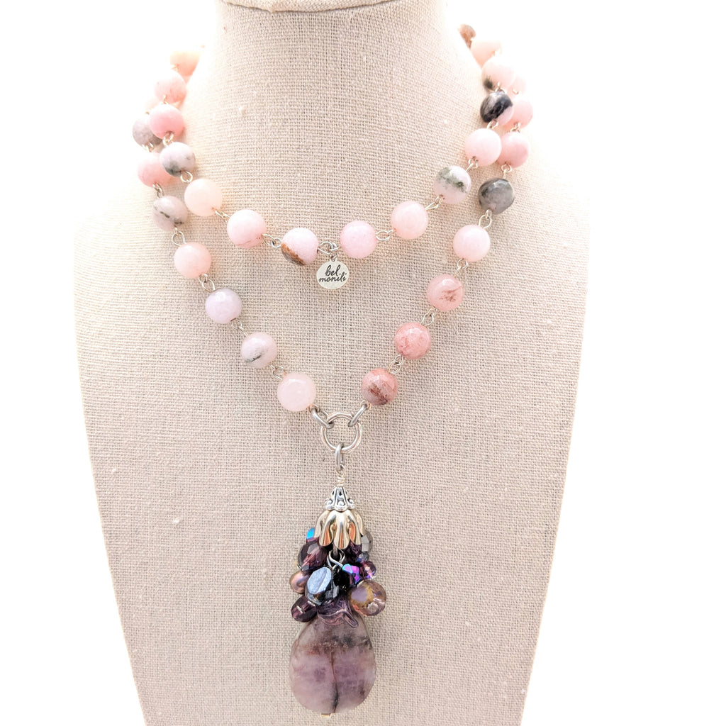 Pink Jade & Kunzite Long Layering Necklace (Bauble 210)
