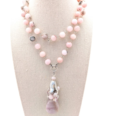 Kunzite & Pink Jade Long Layering Necklace (Bauble 214)