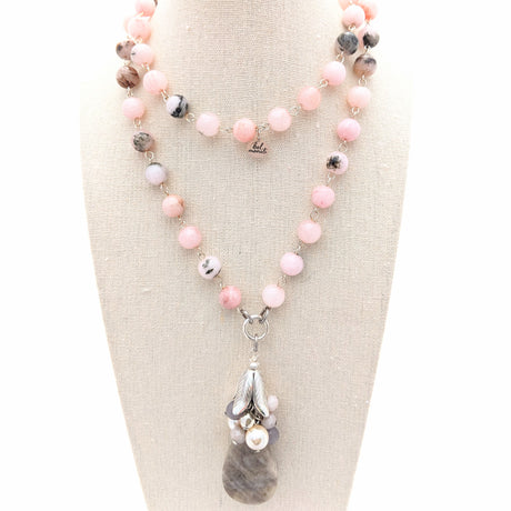 Pink Jade & Kunzite Long Layering Necklace (Bauble 223)
