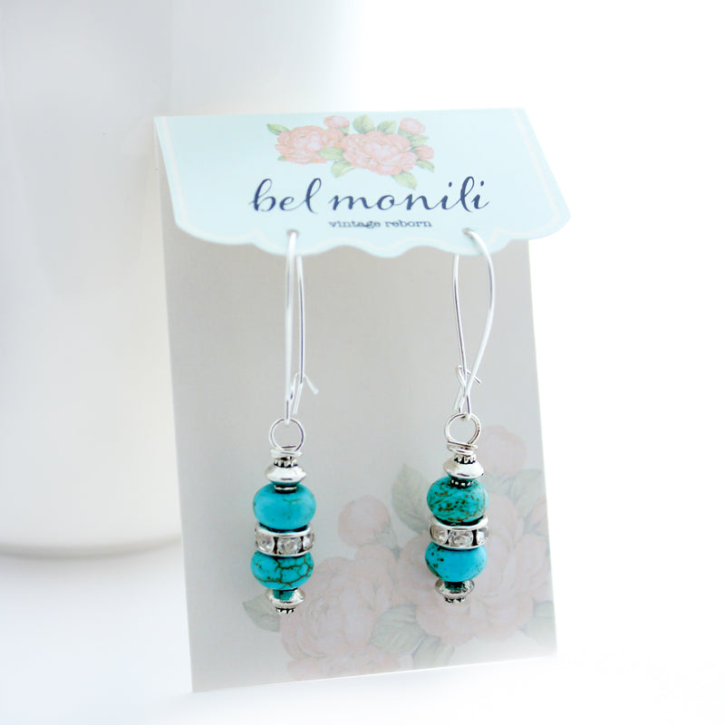 Turquoise Rhinestone Dangle Earrings