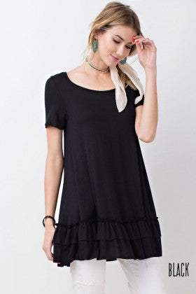 black ruffle tee shirt sizes S-2x