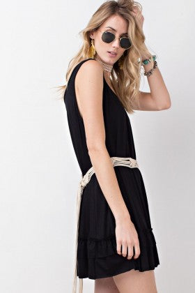 Black sleeveless ruffle tunic