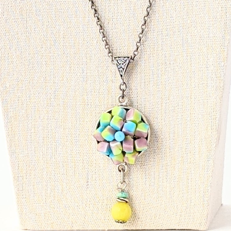 Summer Pastel Vintage Upcycled Pendant Statement Necklace