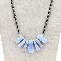 Blue Lace Agate Bib Style Necklace