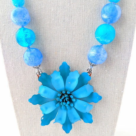 Blue Wave Flower Necklace