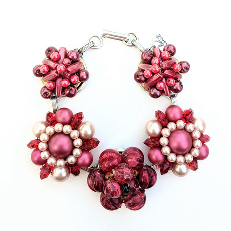 cranberry red bracelet, red statement bracelet