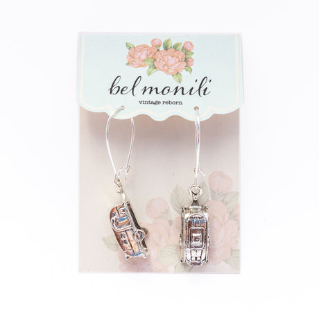 camper earrings, sisters on the fly