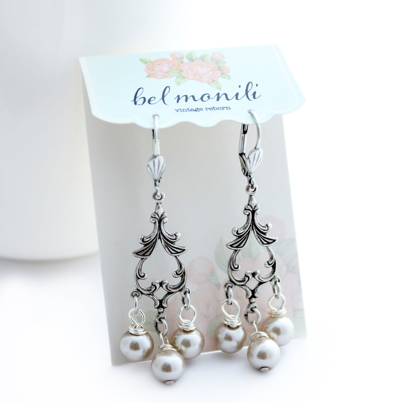 Delicate Pearl Statement Earrings