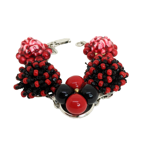 Black and Red Vintage Cluster Bracelet (Bracelet 323)