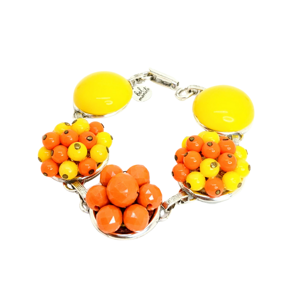 Orange and Yellow Vintage Cluster Bracelet (Bracelet 340)