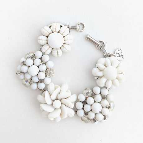 white milk glass bracelet