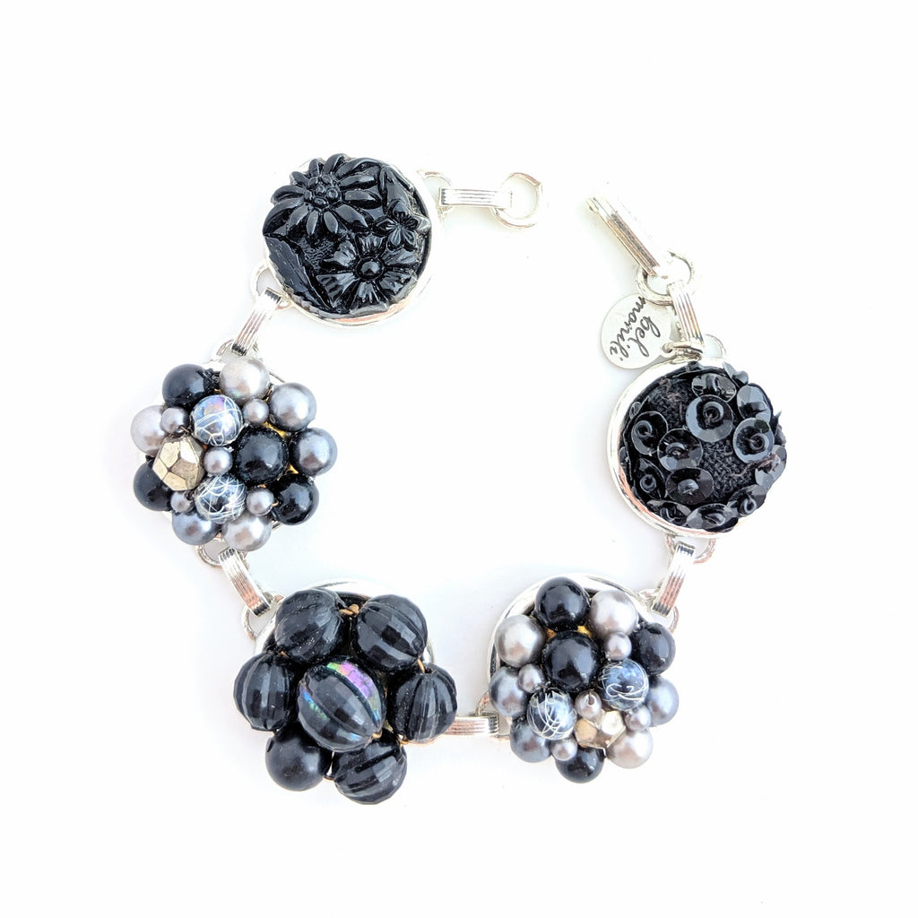 gray and black vintage bracelet