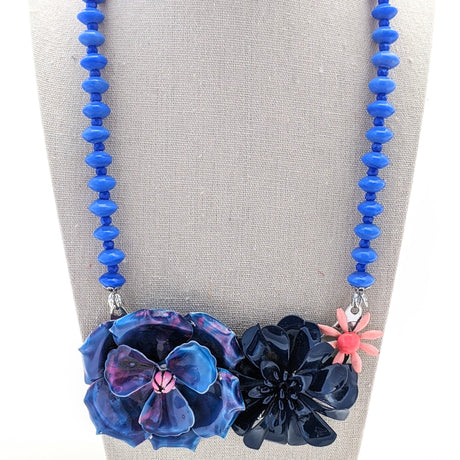 Spring Blues Vintage Flower Collage Necklace