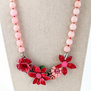 Pink and Red Spring Flower Collage Necklaces (collage 147)