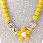 Yellow Daisy Collage Necklace (Collage 160)