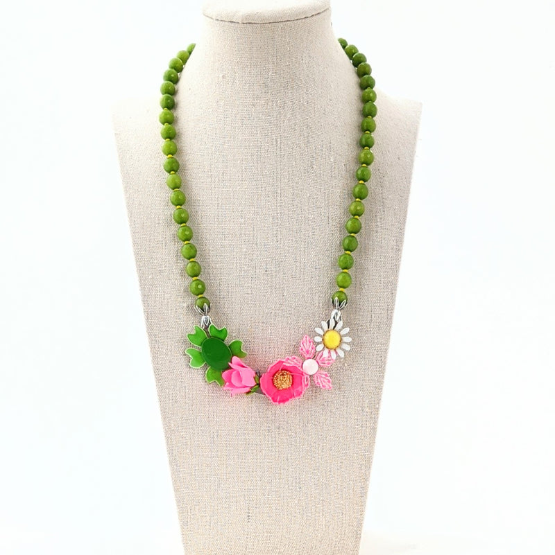 Olive & Pink Flower Collage Necklace