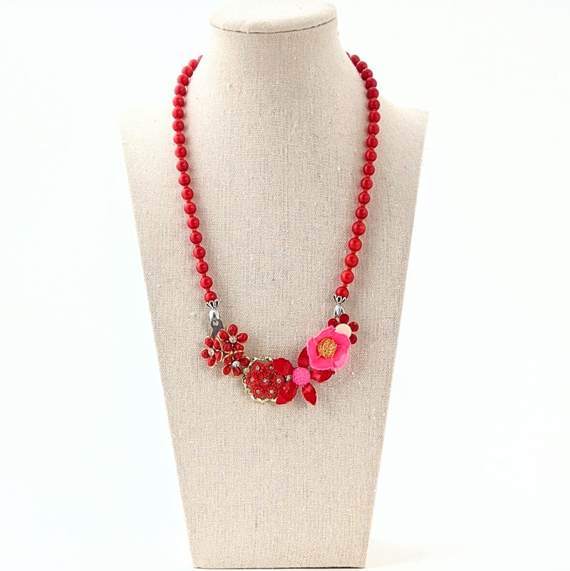 Pink & Red Flower Collage Necklace