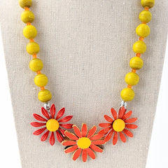 Orange & Yellow Vintage Daisy Collage Necklace