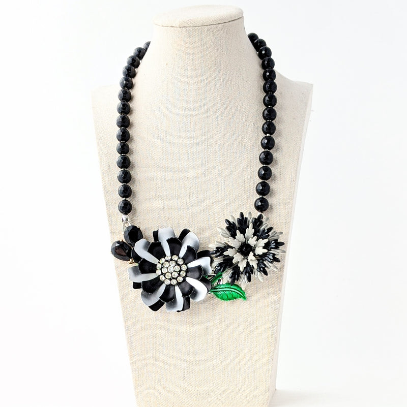 Black and Gray Flower Collage Necklace