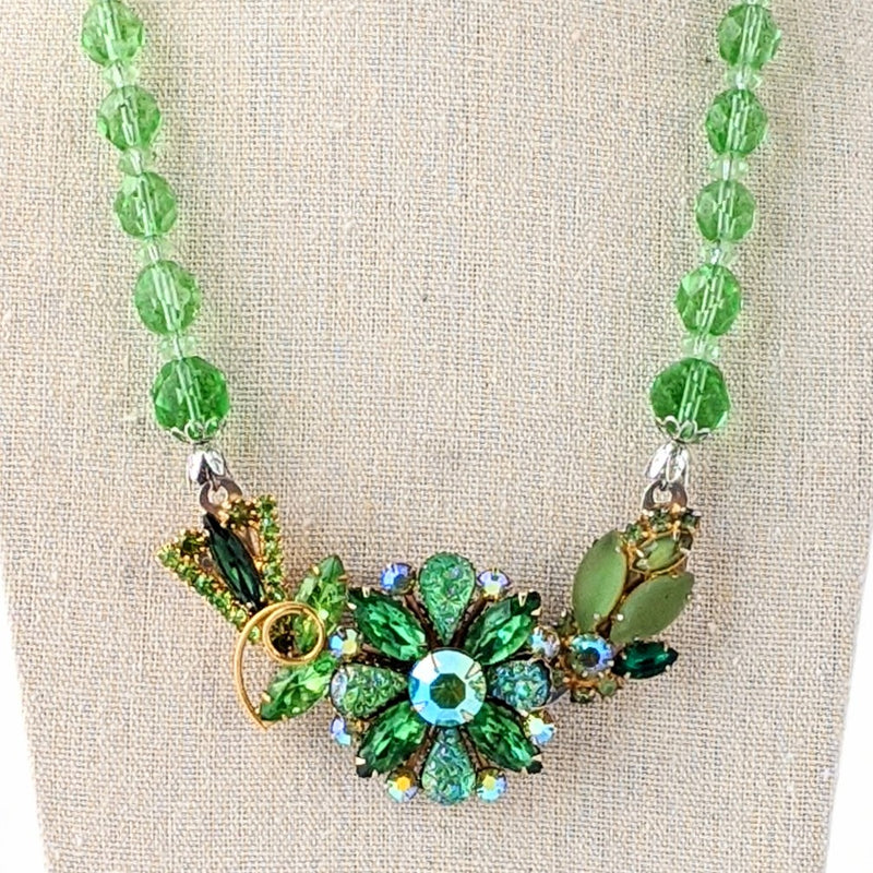 Vintage Green Glass Rhinestone Collage Necklace