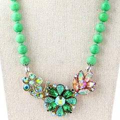 Spring Greens Vintage Rhinestone Collage Necklace