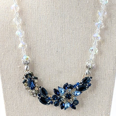 Navy Crystal Vintage Rhinestone Collage Necklace