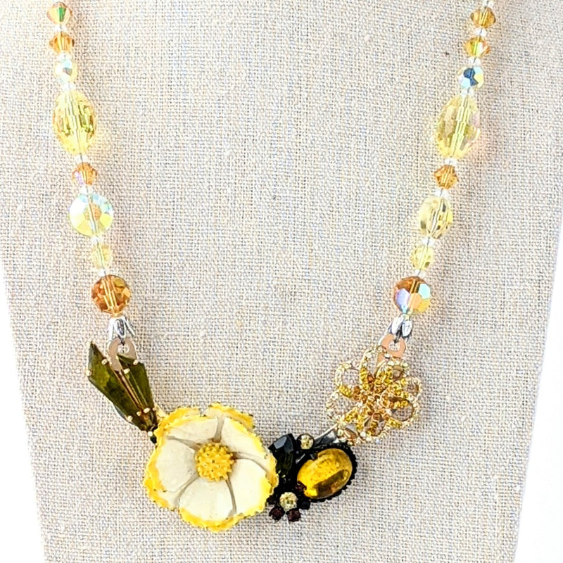 Yellow Flower Vintage Rhinestone Collage Necklace