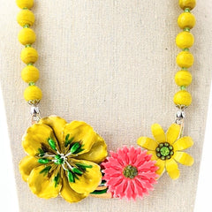 Summer Citrus Vintage Flower Collage Necklace