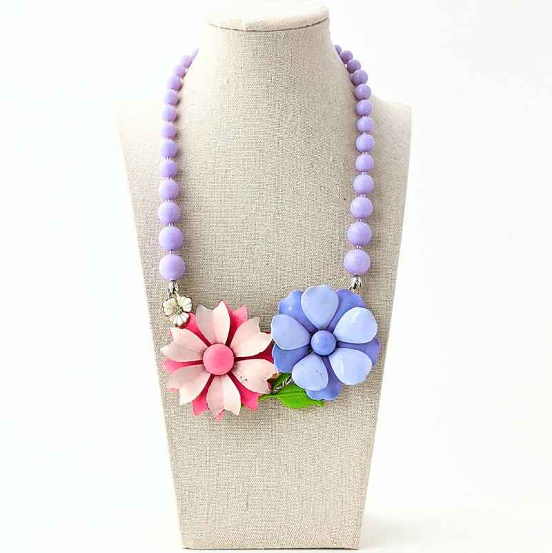 Lavender & Pink Vintage Flower Collage Necklace