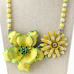 Lemon Lime Vintage Flower Collage Necklace