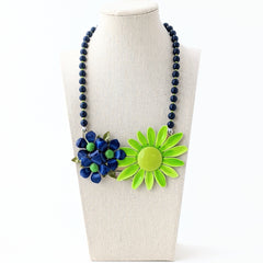 Navy and Lime Vintage Flower Collage Necklace