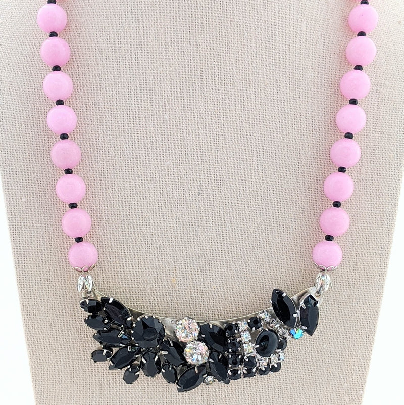 Rose & Black Vintage Bling Collage Necklace