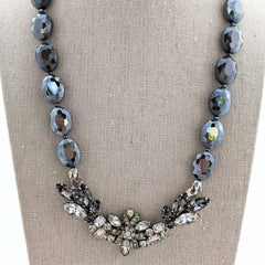 Rhinestone Taupe Vintage Bling Collage Necklace