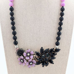 Lilac Colorblock Vintage Bling Collage Necklace