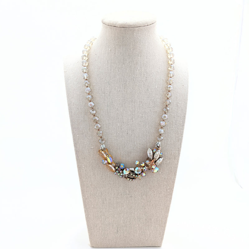 Champagne Pearl Vintage Flower Collage Necklace