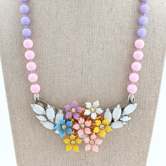 Pastel Petals Vintage Flower Collage Necklace