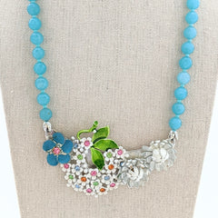 Blue Skies Vintage Flower Collage Necklace