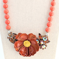 Cinnamon Spice Vintage Flower Collage Necklace