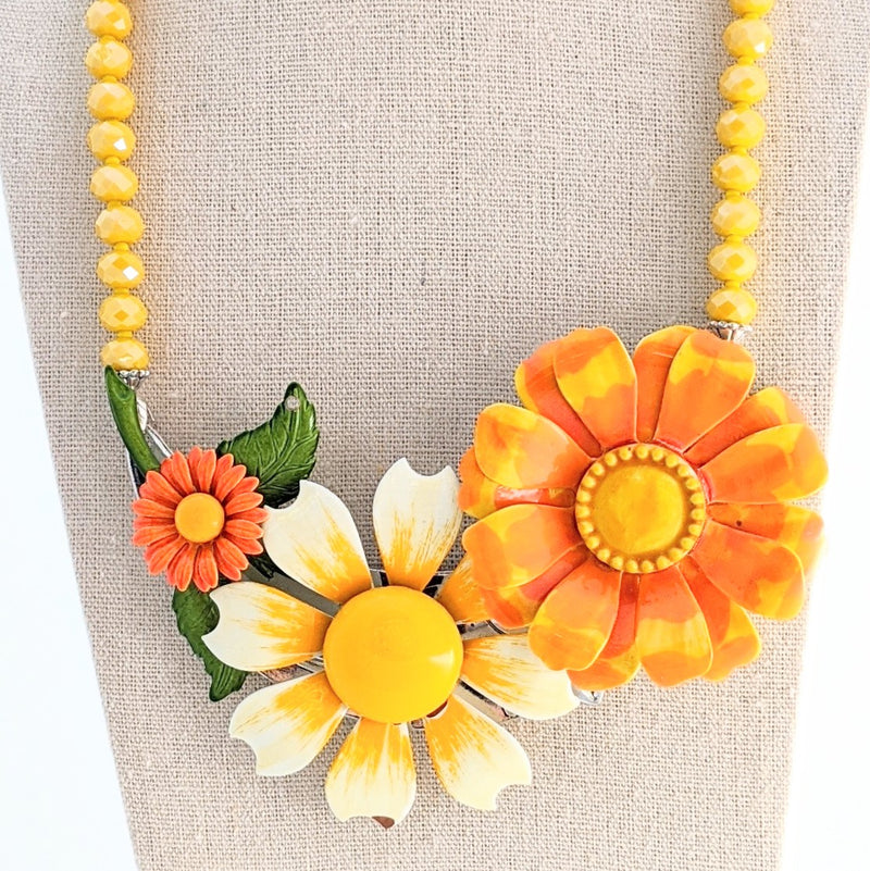 Sunflower Fields Vintage Flower Collage Necklace