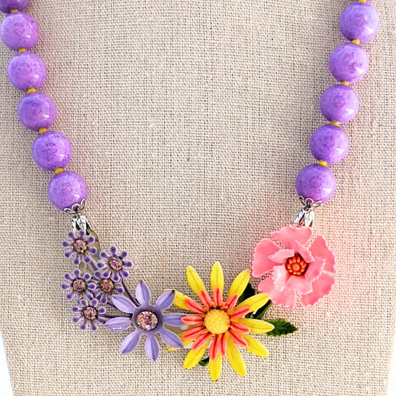 Lavender Brights Flower Collage Necklace