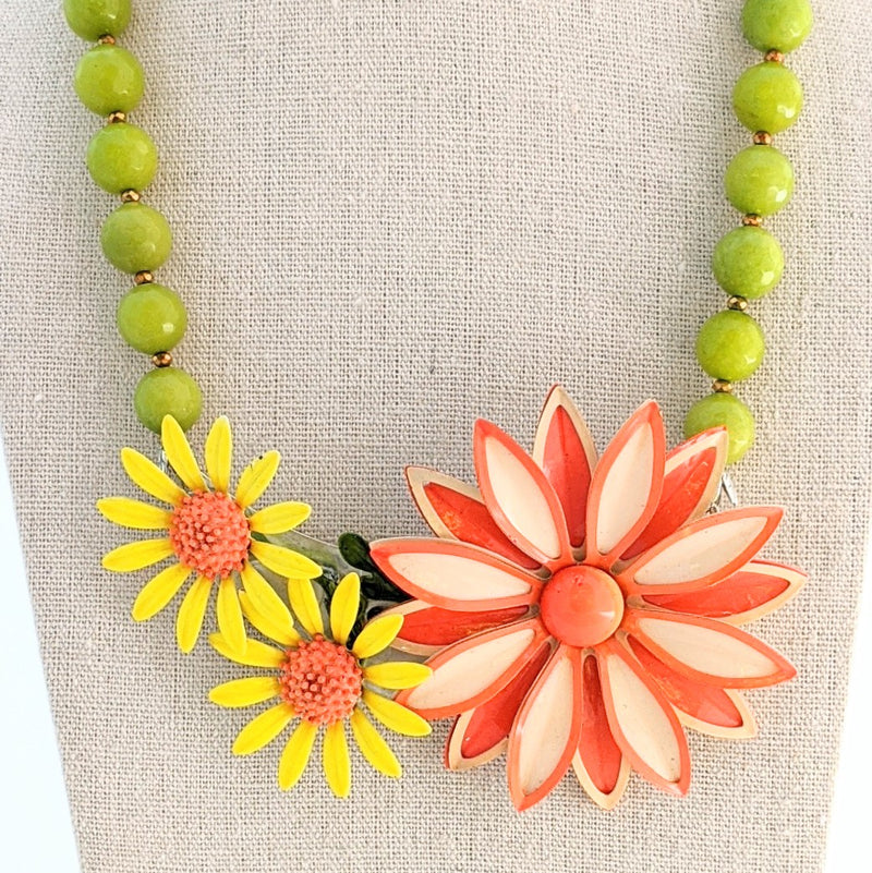 Fall Blooms Flower Collage Necklace