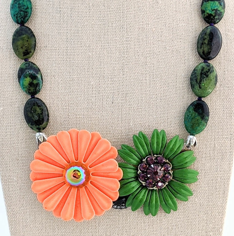 Orange and Green Vintage Flower Collage Necklace